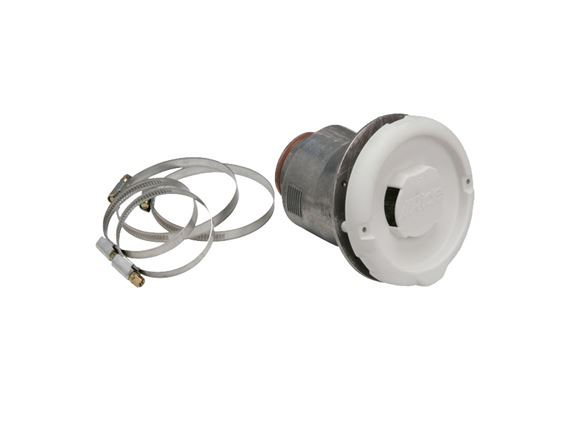 Read more about Alde Side Wall Flue Terminal c/w Hose Clips White product image