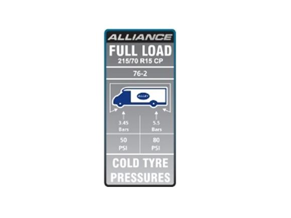 AL1 76-2 Tyre Pressure Label product image