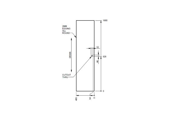 PT2 400/2 TC Washroom Door 1908x495x26 mm product image