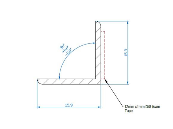 1600 x 16 x 16mm PVC Angle Extrusion White product image