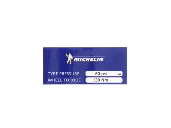 Michelin Tyre Pressure Decal 60psi product image