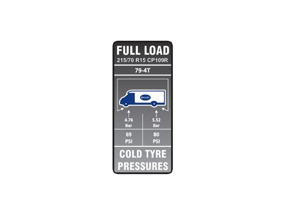 Approach Autograph II 79-4T Tyre Pressure Label product image
