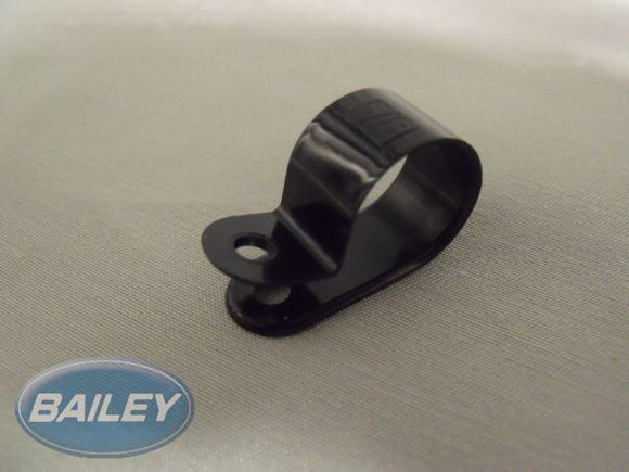 """P"" Clip 15.88 mm Dia Black OR Clear (5/8"") product image"