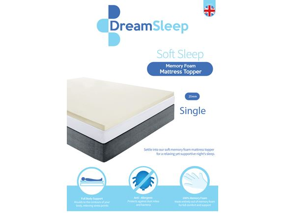 Memory Foam Mattress Topper 25mm (Single) product image
