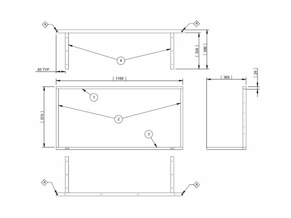 AE2 STD O/S Lounge Bunk Slide Frame Base product image
