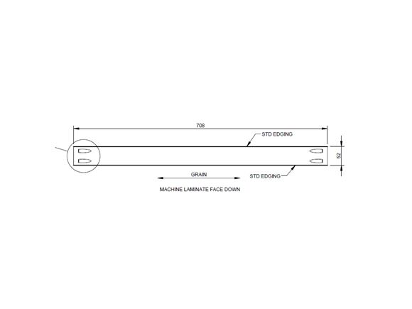 PX1 Kitchen Drawer Header 708x52x18mm product image