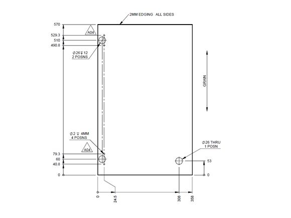 PX1 Kitchen L/H Cupboard Door 570x358x15mm (A04) product image