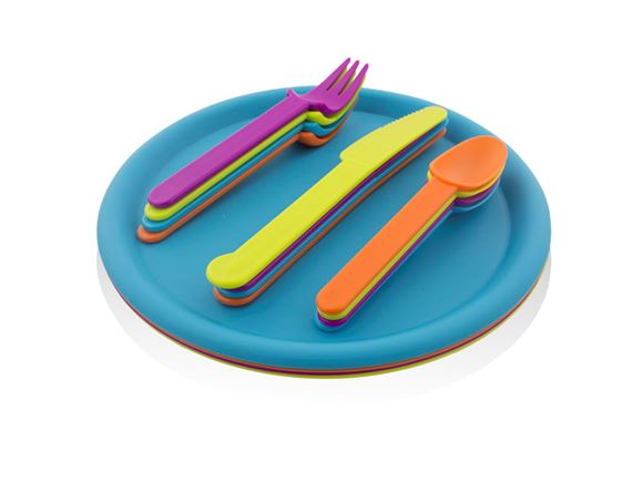 16 pcs Picnic Cutlery & Plate Set - Multicolour product image