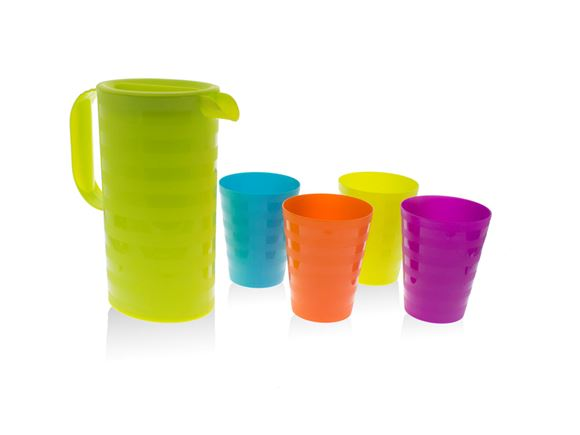 5pc Green Jug & Multicoloured Cups Picnic Set product image