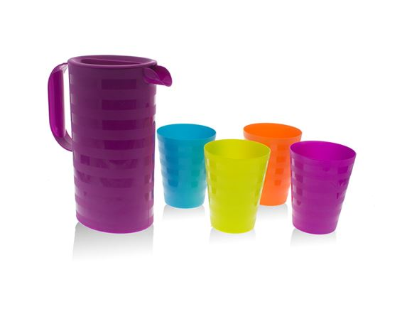 5pc Purple Jug & Multicoloured Cups Picnic Set product image