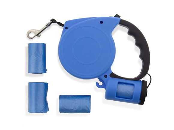 5m Blue Retractable Lead w/ Dog Poop Bag Dispenser product image