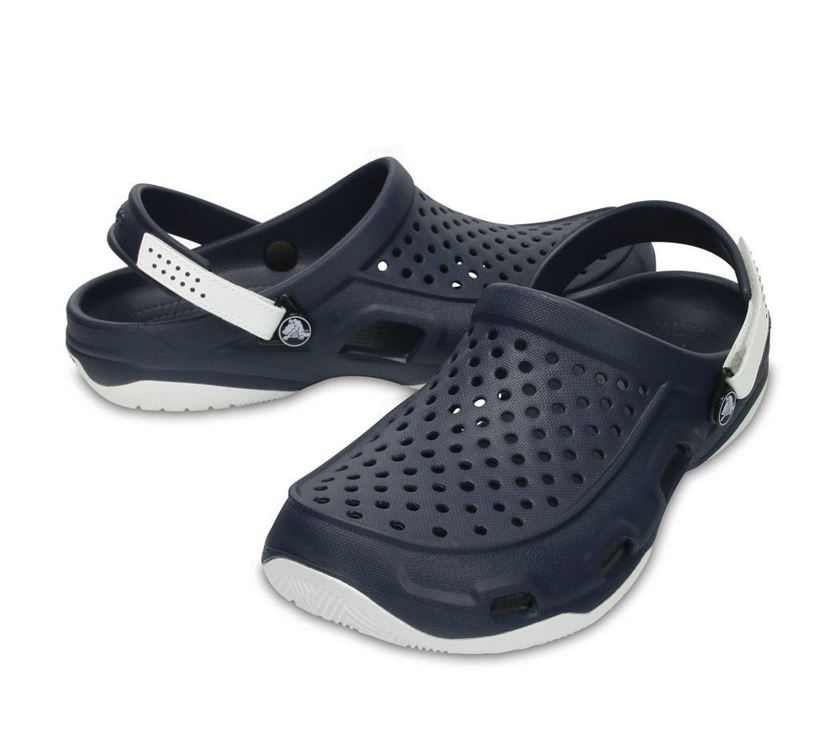 02b66a33510a Crocs Mens Swiftwater Deck Clog Navy White M11 View larger  Crocs  Swiftwater River Sandal