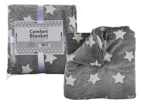 Grey Comfort Blanket w/ White Stars, 130x160cm product image
