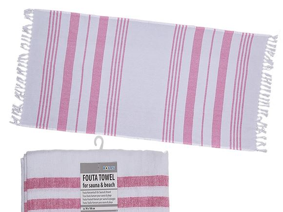Fouta Beach Towel 90x180cm White/Rose product image