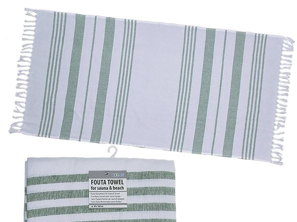 Fouta Beach Towel 90x180cm White/Mint Green product image