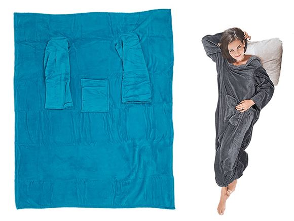 Comfort Blanket w/ Sleeves & Pockets - Blue product image