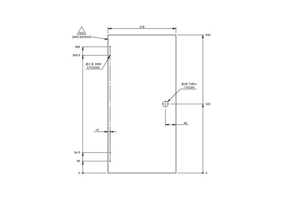 PX1 Rear Vanity Unit Door 640x316x15mm product image